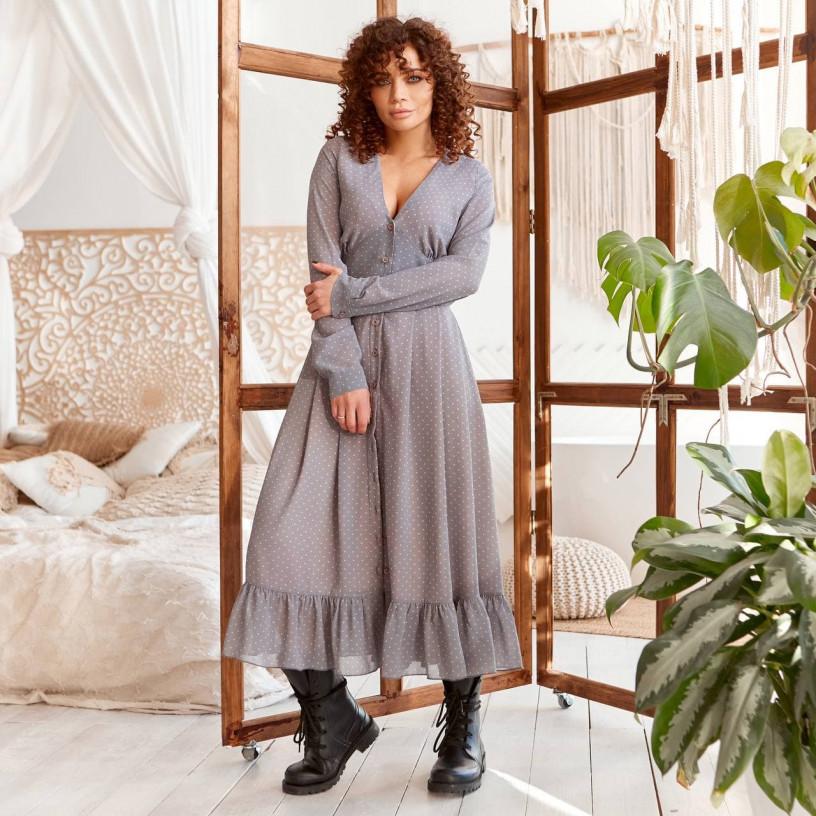 Шифонова сукня з воланом 11750-1
