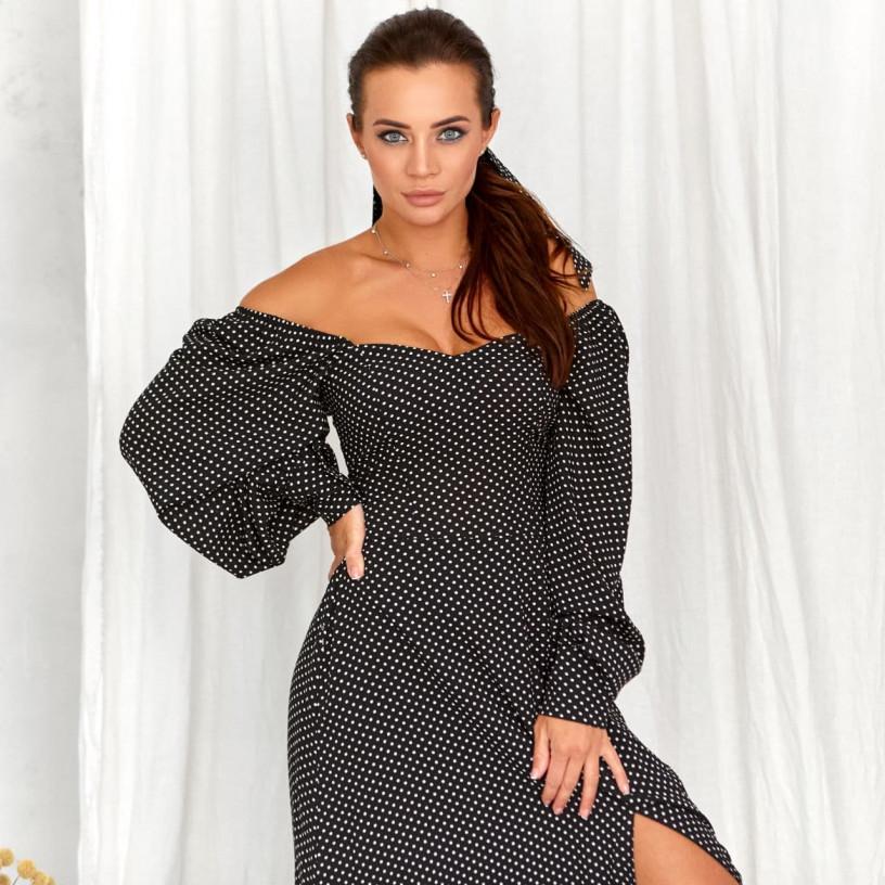 Елегантна сукня в горошок 11760-3