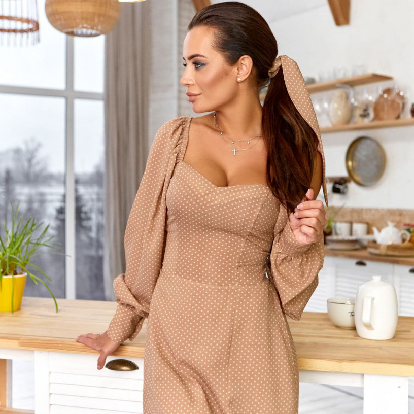 Елегантна сукня в горошок 11760-1