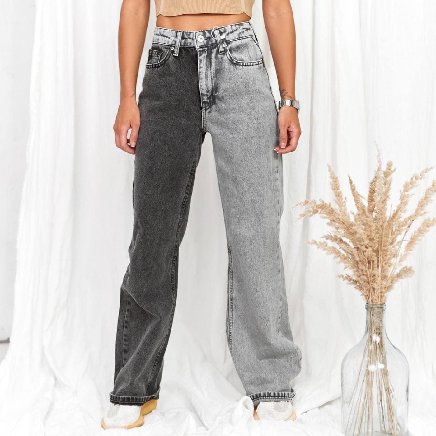 Двухцветные джинсы МОМ 83495