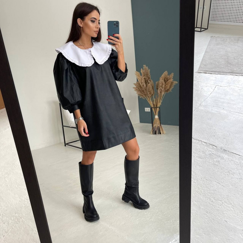 Кожаное платье с винтажным воротником 11770-1