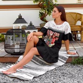 Свободное платье с накаткой 1598-003