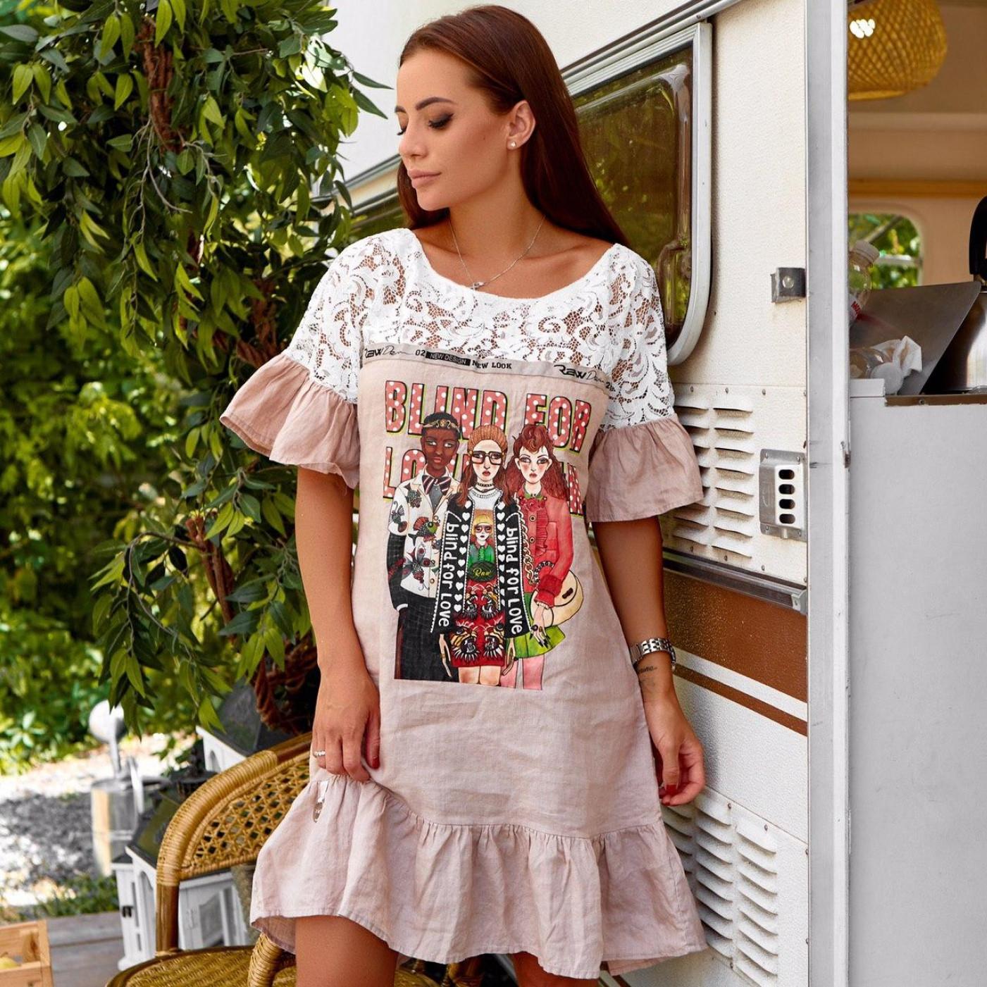 Вільне плаття з накаткою 1598-006