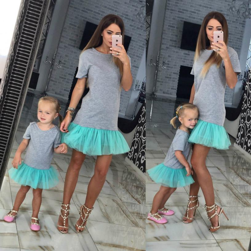 Милое детское платье с фатином familylook 10556