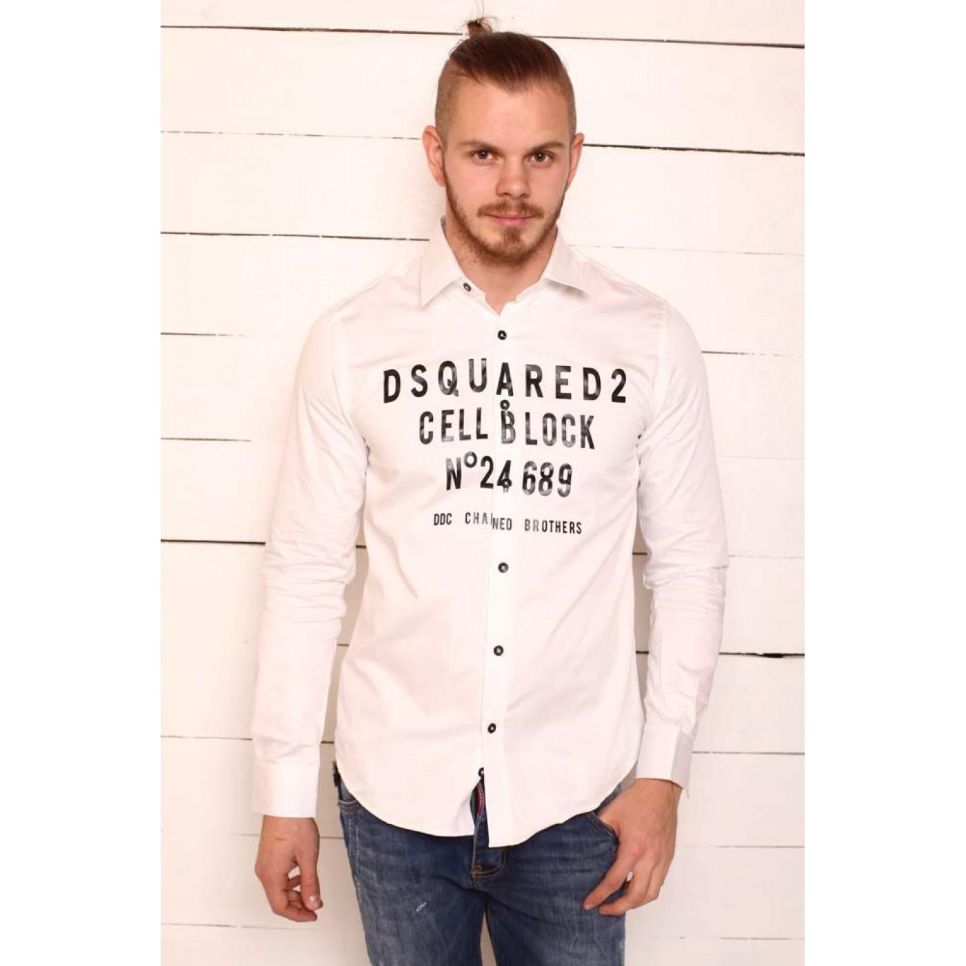 Рубашка белая с черными надписями Call Back 7044