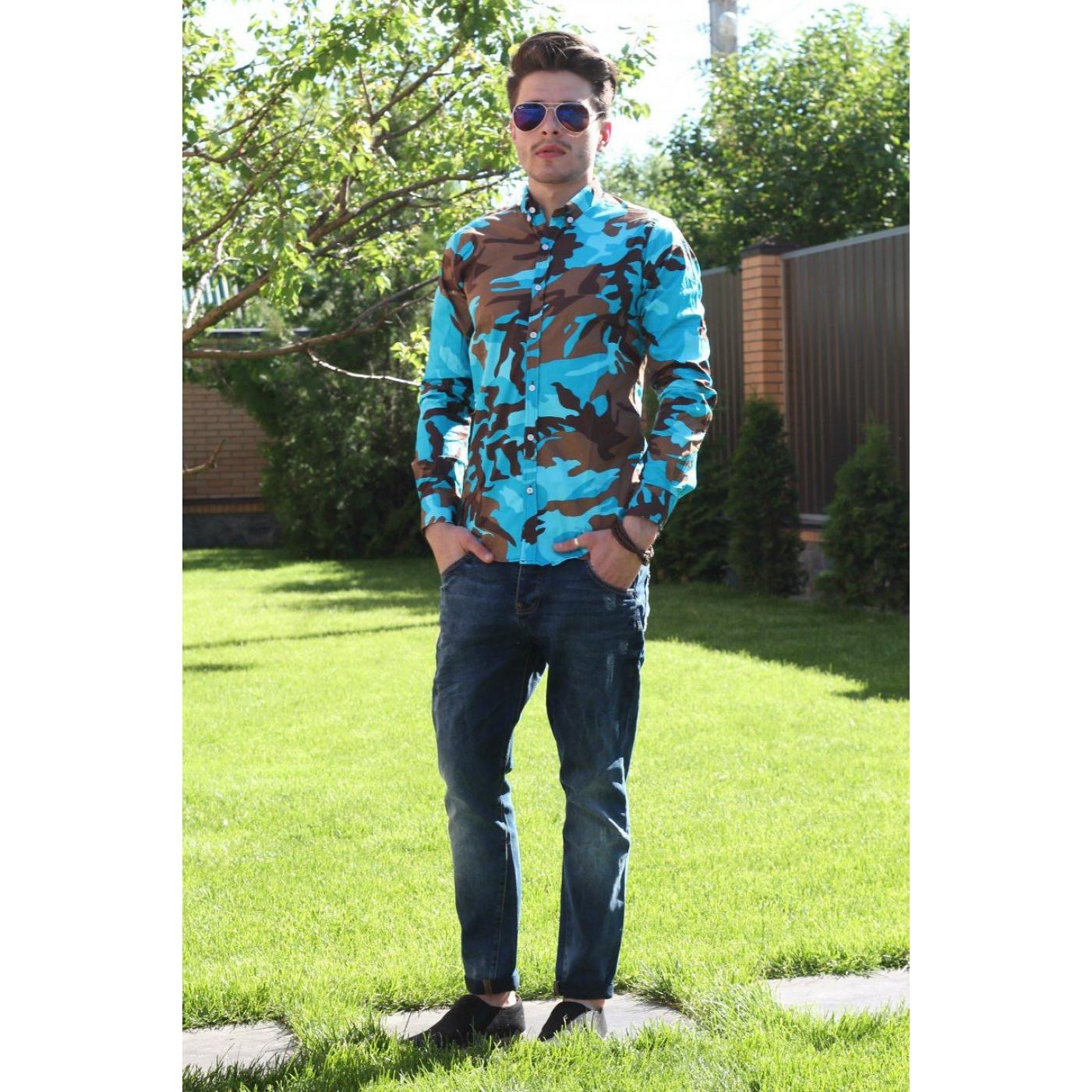 Рубашка мужская с разводами приталенная 7026