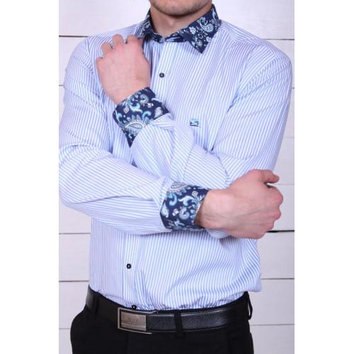 Рубашка в полоску и рисунком на манжетах 7066