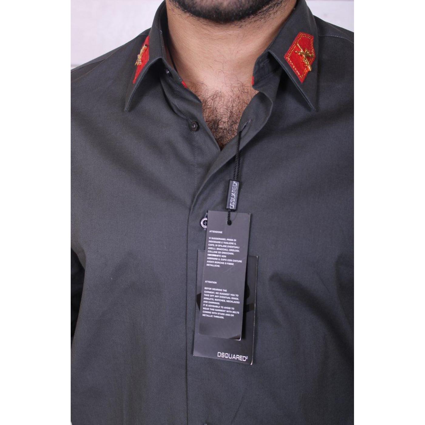 Рубашка темно-серая с погонами на воротнике 7063