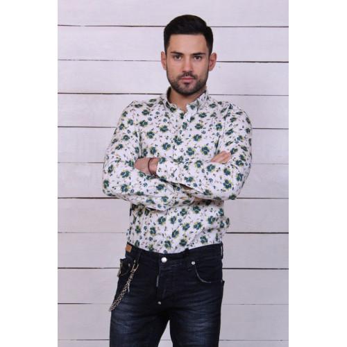 Рубашка мужская с цветами 7061