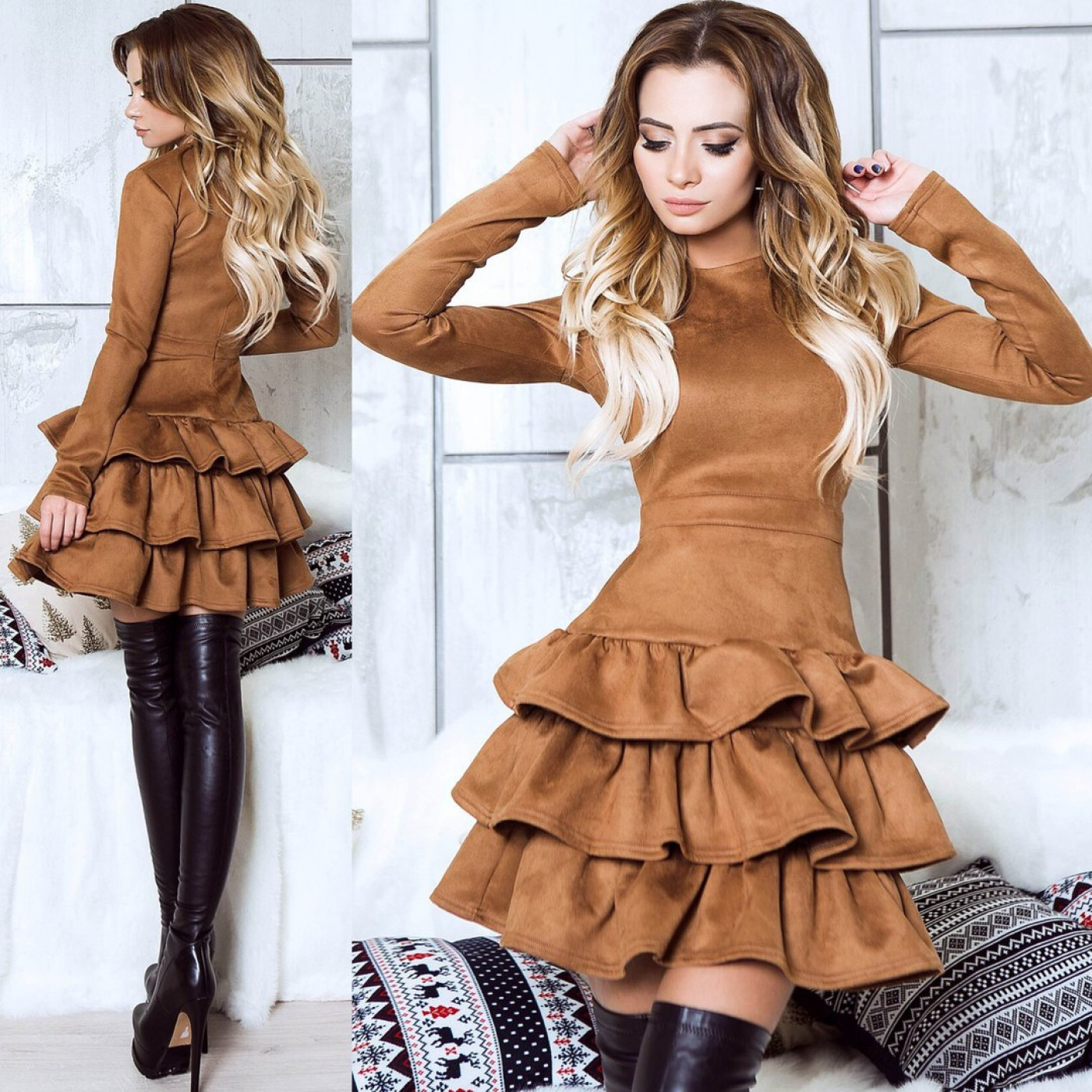 Платье ярусное с воланами 10661