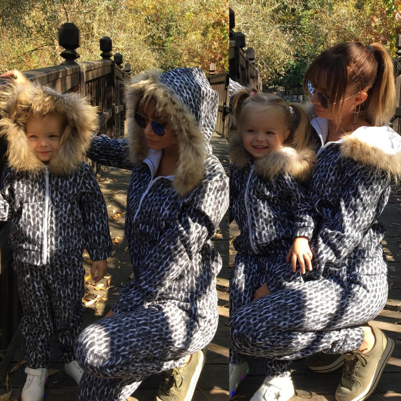 Детский шерстяной костюм с мехом  Family Look 10643
