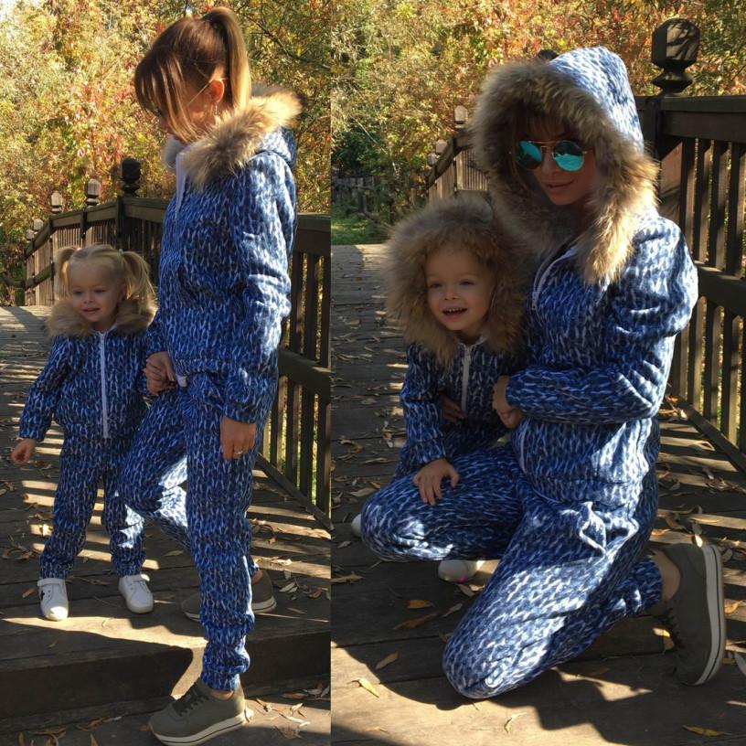Дитячий вовняний костюм з хутром Family Look 10643