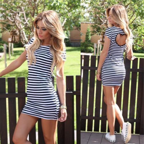 Платье в полоску с вырезом на спине 5172