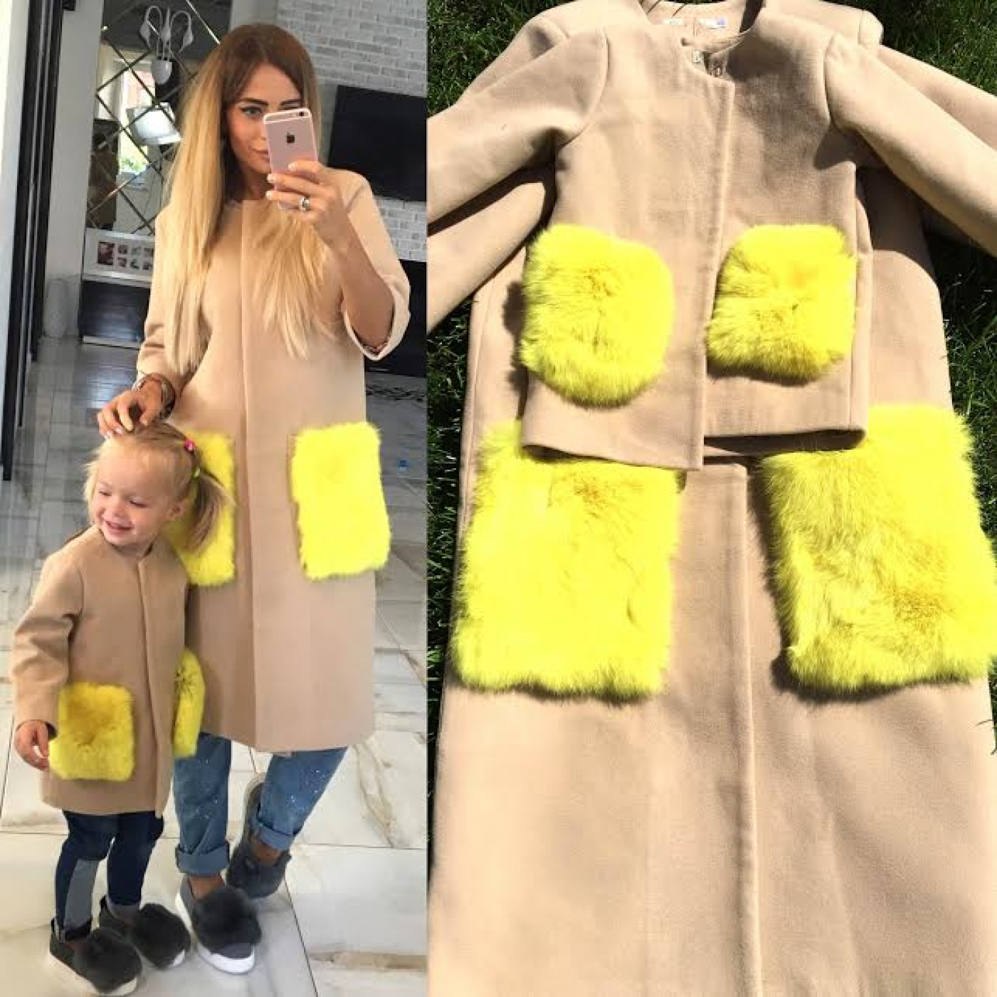 Пальто детское с меховыми карманами 10608