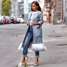 Стильное женское пальто с мехом